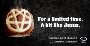 Hell Pizza's 'Hell Cross Bun' billboard