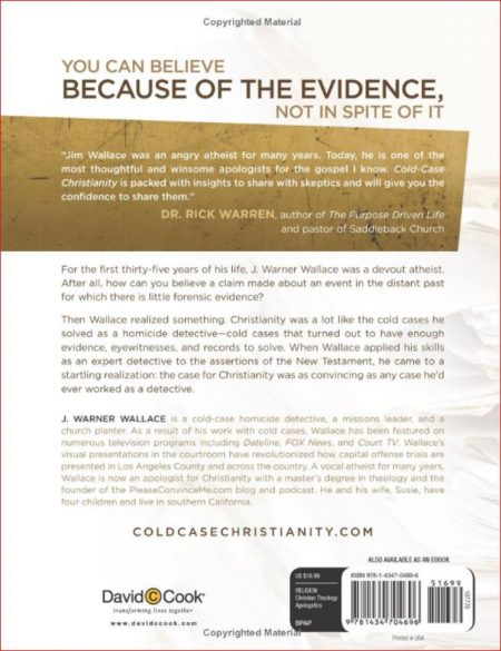 Cold Case Christianity (rear cover)