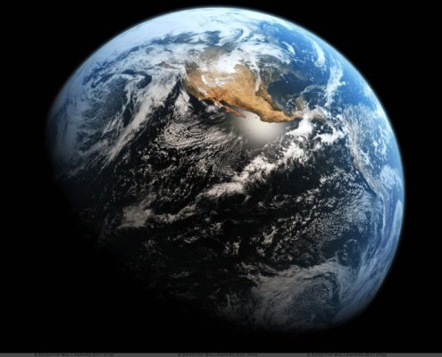 Earth View From Sapce And Black Background